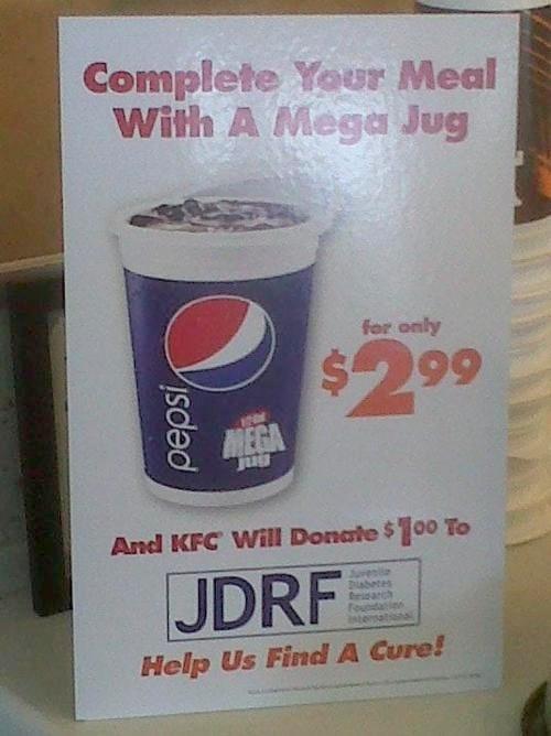 KFC-JDRF mega-drink sign