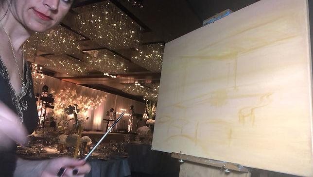 Live Wedding Painting by Julia Dordoni of Steamboat Springs. This reception painting took place at the 4 Season in Snowmass, Colorado.