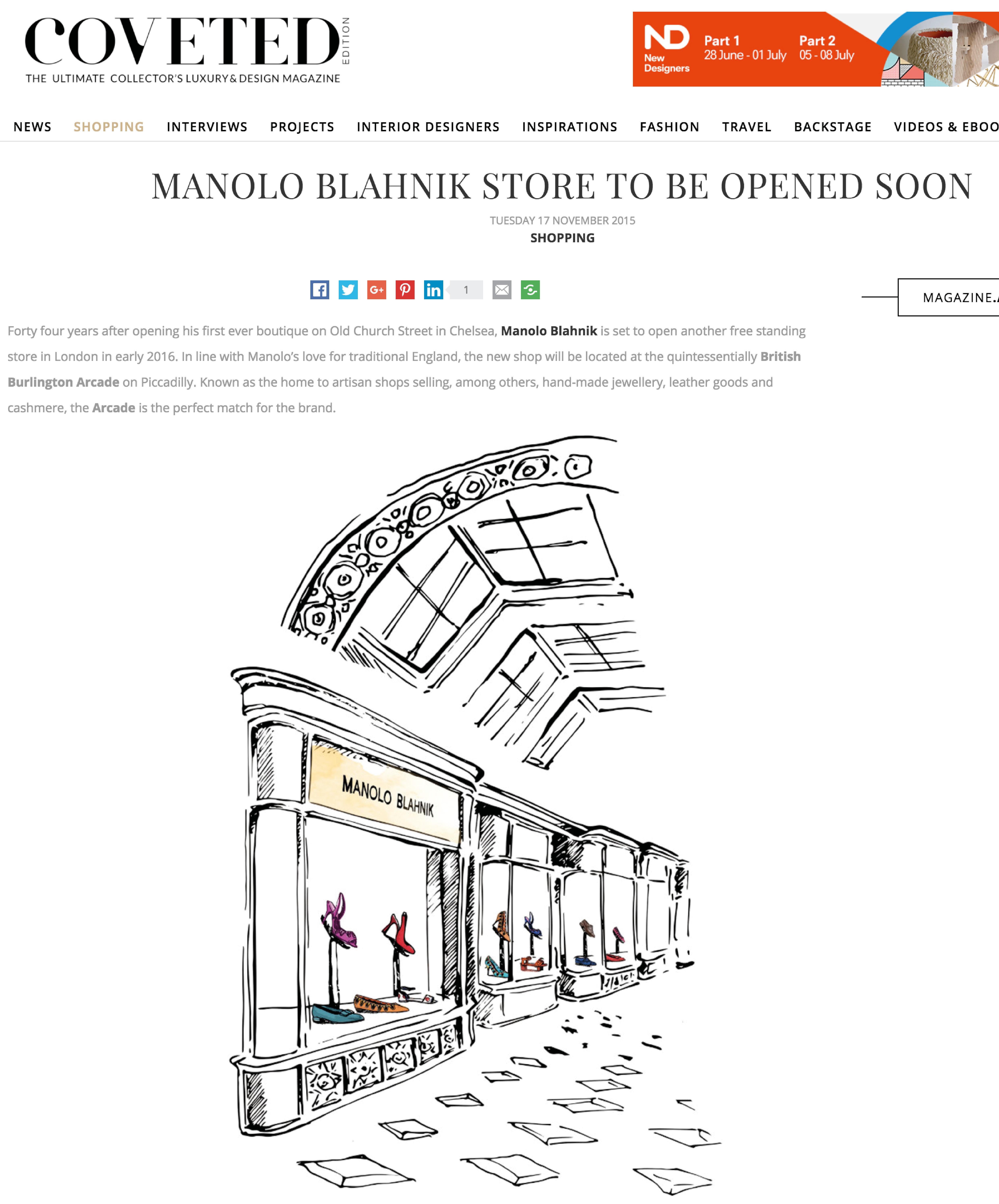 Manolo Blahnik Store opening soon