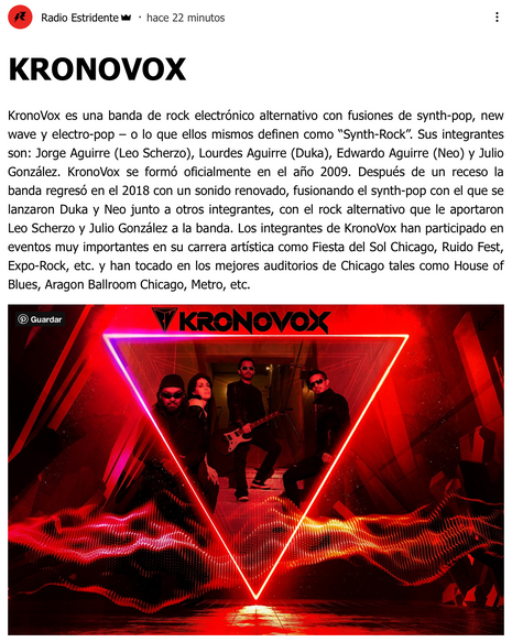 Radio Estridente publica una reseña de KronoVox!