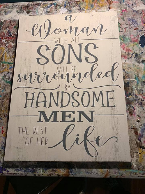 A Woman with Sons sign