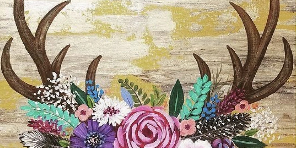 Floral Antlers Canvas Palooza