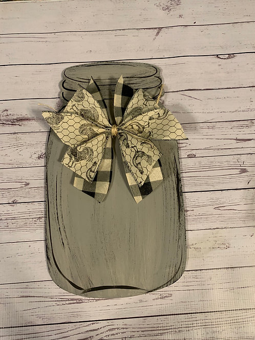 Small Mason jar door hanger w/bow