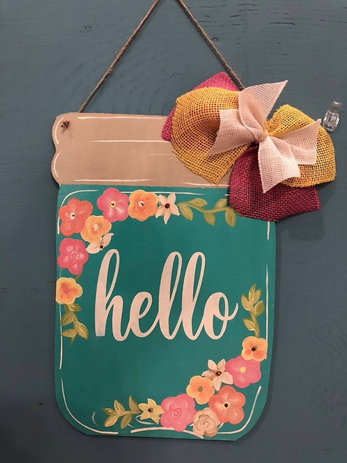 Teal Floral Jar Door Hanger