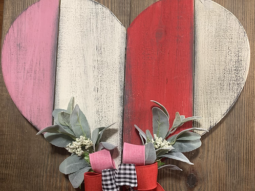 Plank Heart with Florals