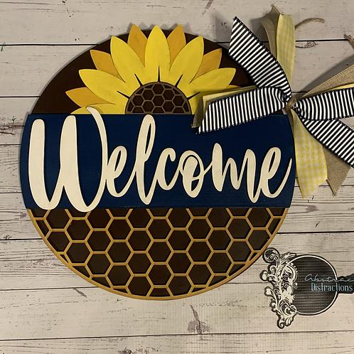 Sunflower Honeycomb door hanger