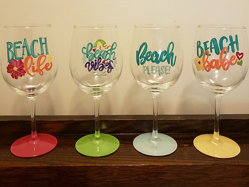 Beach Wine glasses set of four