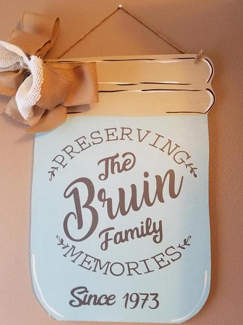 Family Name Mason Jar Door hanger