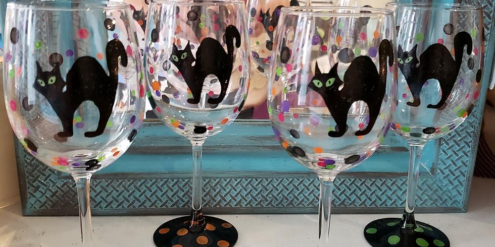Halloween Cats Wine Glass Palooza