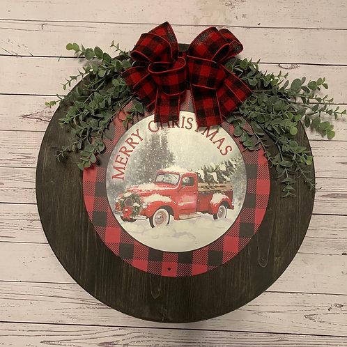"""Round Merry Christmas Truck 18"""""""