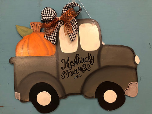 Pumpkin Truck Door Hanger
