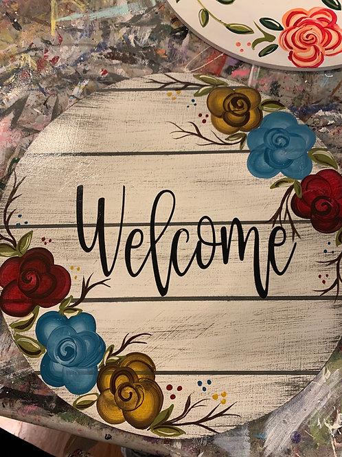 Welcome Rose Door hanger
