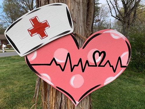 Nurse Have Heart door hanger (Painted)