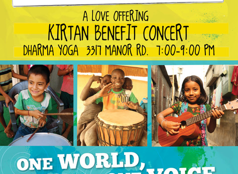 Playing for Change Day Sept 23, 2017 benefit kirtan concert