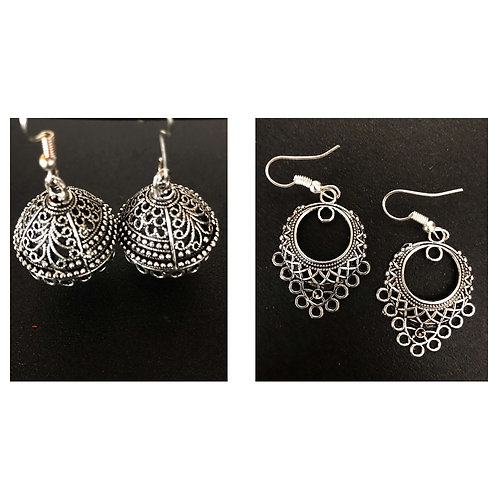 German-Silver Traditional Combo (2 Sets of Ethnic Earrings)