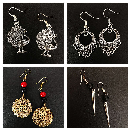 German-Silver Traditional Combo (4 Sets of Ethnic Earrings)