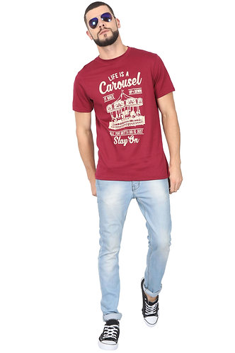 Life is a Carousel Unisex Smart Maroon T Shirt