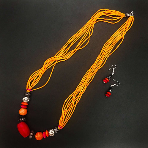 Handcrafted Traditional Jewellery Set (1 Necklace with 2 Earrings) S35