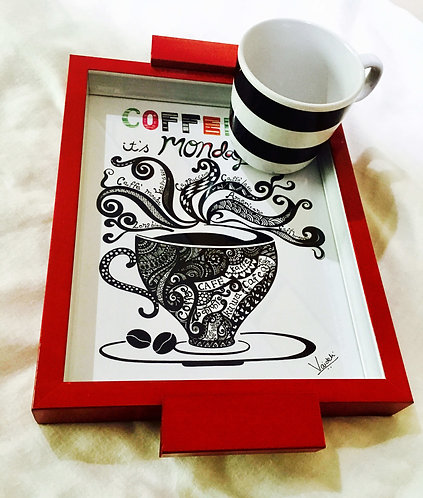 """Good Morning with a Coffee"" Hand Painted Serving Tray (Red)"