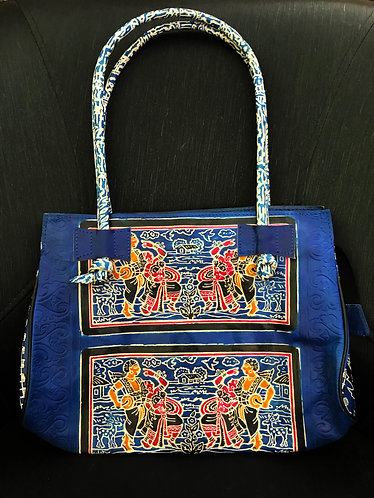 Stylish Leather Handbag (Ethnic Design Handpainted)