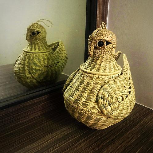 Eco-friendly Sabai Grass Handcrafted Owl Storage Basket