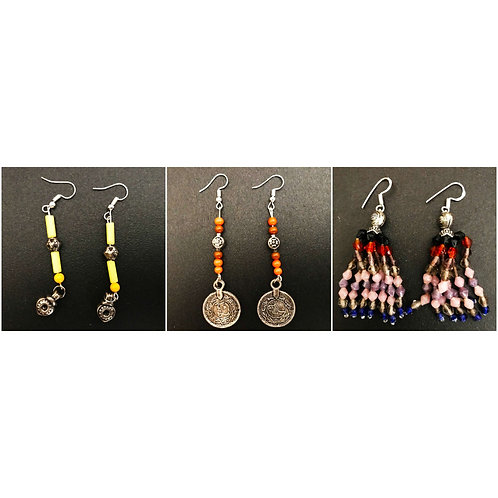 Handcrafted Traditional Earrings Set of 3 (S42)