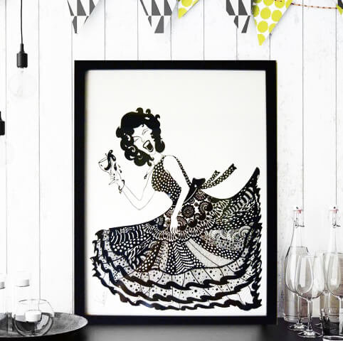 """""""Let's party"""" Wall Art with Frame (Hand Painted)"""