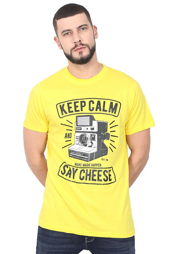 Keep Calm Say Cheese Unisex Smart Yellow T Shirt
