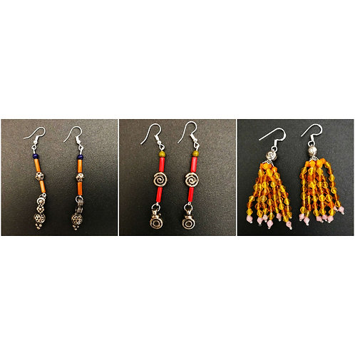 Handcrafted Traditional Earrings Set of 3 (S44)