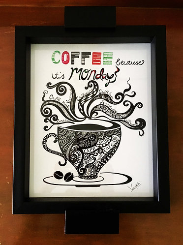 """""""Good Morning with a Coffee"""" Hand Painted Serving Tray (Black)"""