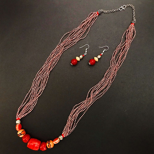 Handcrafted Traditional Jewellery Set (1 Necklace with 2 Earrings) S31