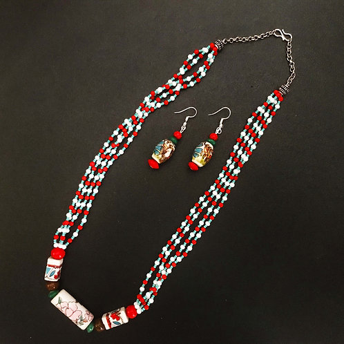 Handcrafted Traditional Jewellery Set (1 Necklace with 2 Earrings) S34