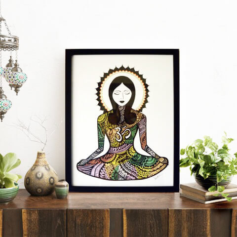 """""""Mindfulness"""" Wall Art with Frame (Hand Painted)"""