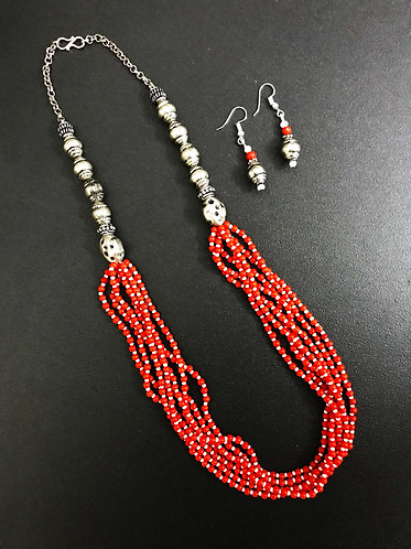 Handcrafted Traditional Jewellery Set (1 Necklace with 2 Earrings) S25