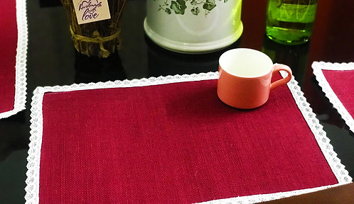 Handcrafted Jute Table Mats with intricate cut-work border (Set of 6)