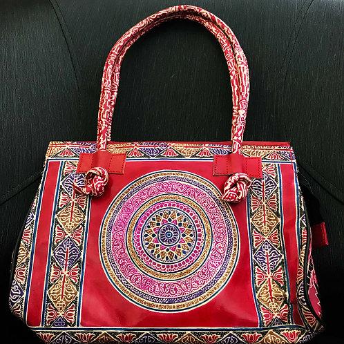 Stylish Leather Handbag (Ethnic Design Handpainted)