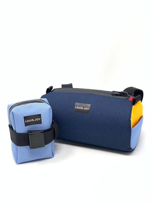 Bio Hack Periwinkle Color Block Handlebar Bag & Saddle Bag Duo