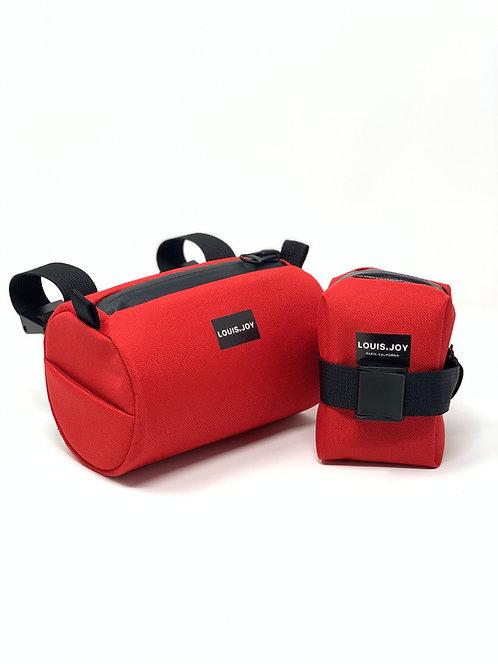Red Handlebar Bag & Saddle Bag Duo