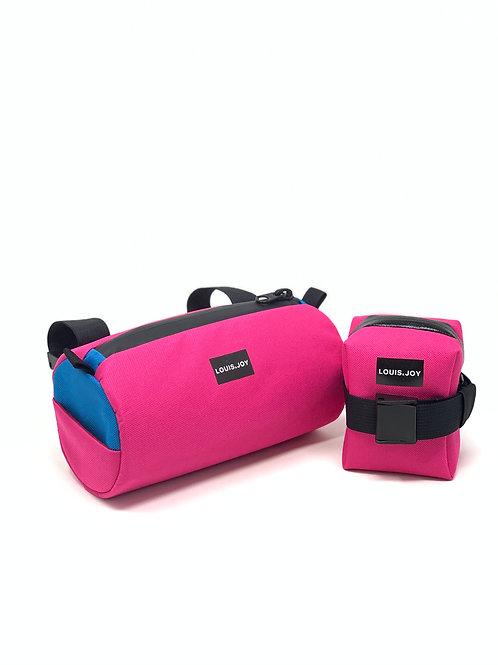 Hot Pink/Turquoise Handlebar Bag & Saddle Bag Duo