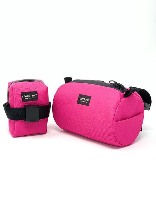 Hot Pink Handlebar Bag & Saddle Bag Duo