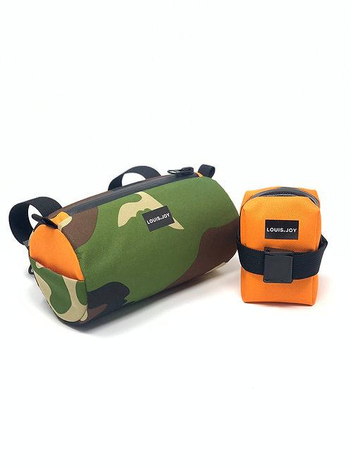 Camo/Orange Handlebar Bag & Saddle Bag Duo