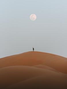 Moon rising at Abu Dhabi