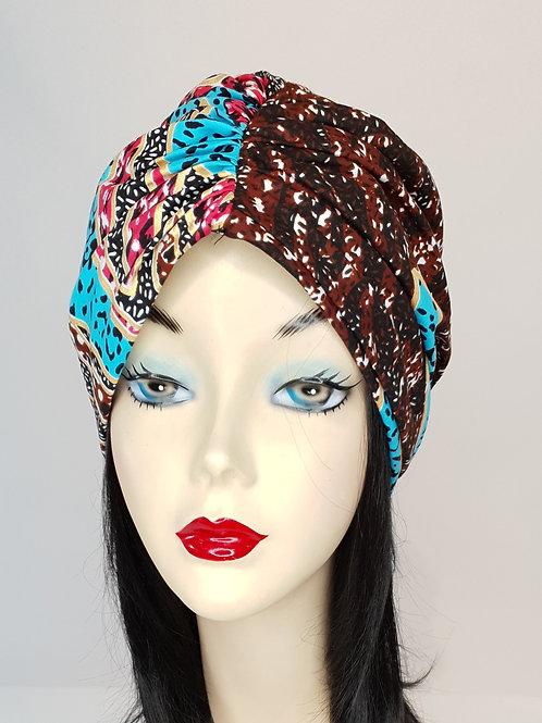 Bandeau turban en wax marron bleu rose et doré
