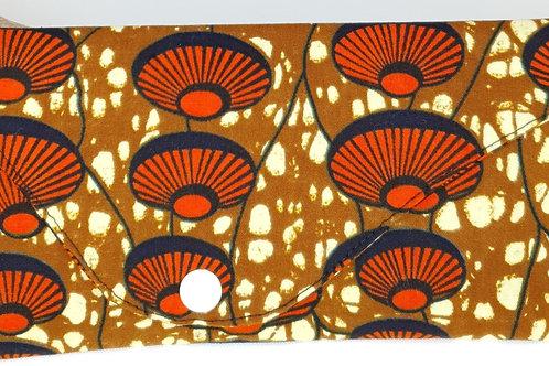 pochette en wax marron et orange