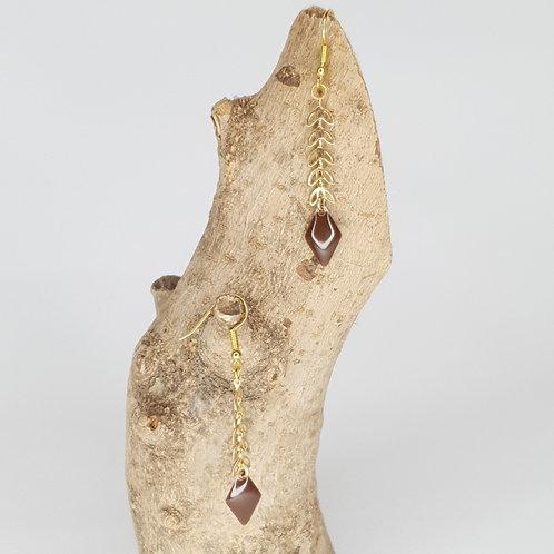 Boucles D'oreilles épis dorés losange émaillé marron