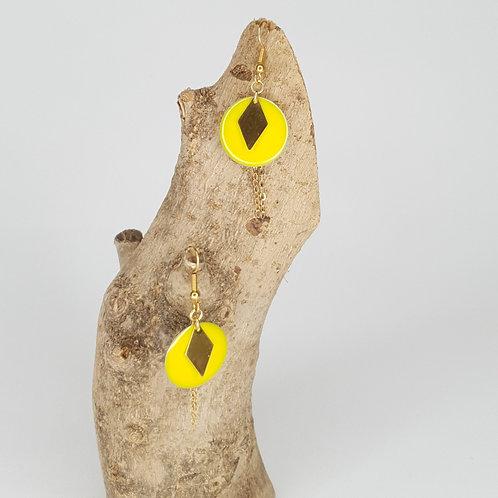 Boucles D'oreilles courtes sequins ronds émaillés jaune