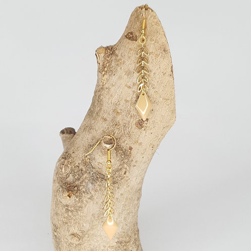 Boucles D'oreilles épis dorés losange crème émaillé