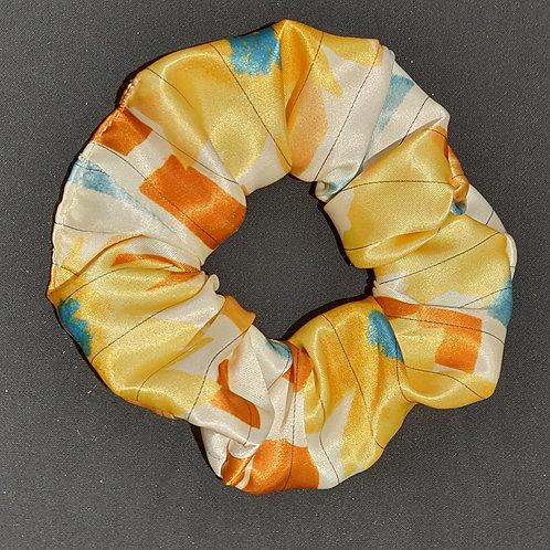 Chouchou en satin jaune orange ecru