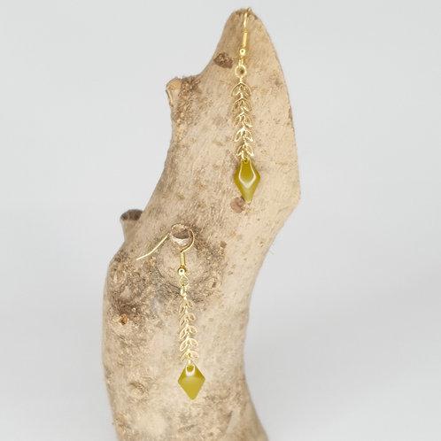 Boucles D'oreilles épis dorés losange émaillé kaki
