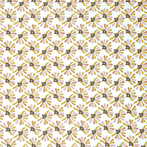 Tissus coton rose kaki paon